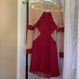 For love and lemons nude mesh burgundy dress